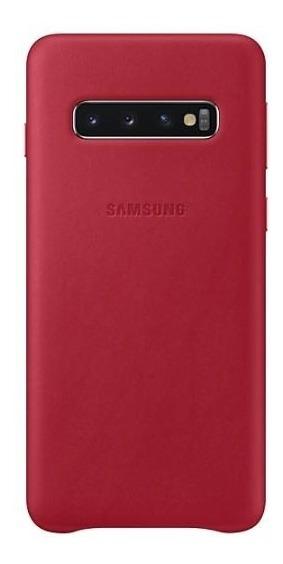 Capa Protetora Samsung Galaxy S10 Couro Vermelho