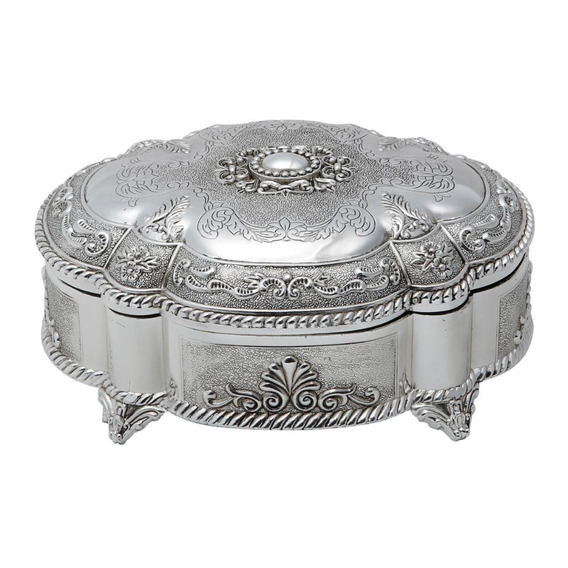 Porta-jóias De Zamac Prateado 20x16x9cm