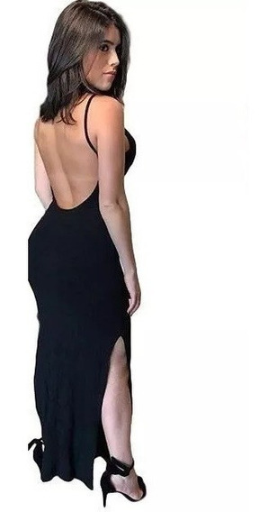Vestido Feminino Longo Costa Nua Com Bojo Viscolycra