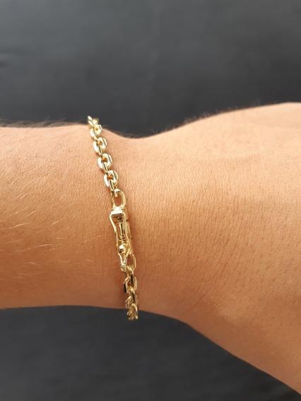 Pulseira Masculina Cadeado 5mm Banhada A Ouro 18k