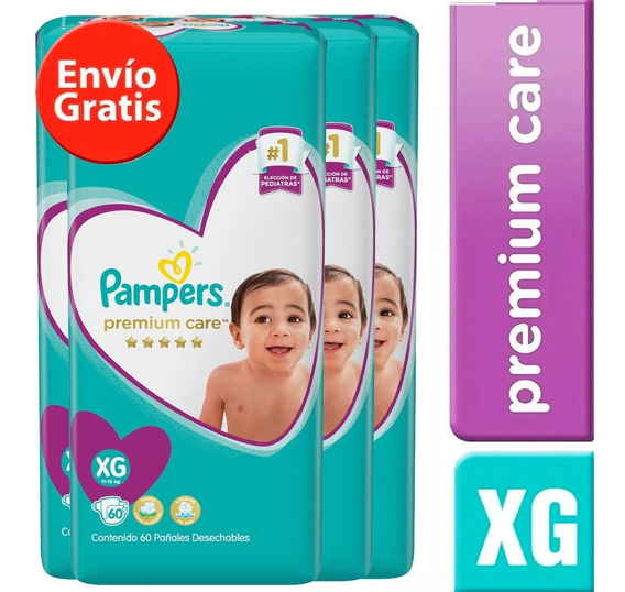 4 Paquete Pañales Pampers Premium Care 272 Unidades Talla Xg