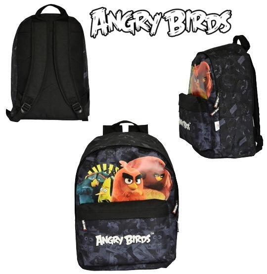 Mochila Escolar Grande Angry Birds Santino Preta