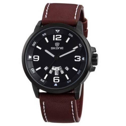 Relógio Masculino Skone 9345ag Pulseira De Couro Promoção