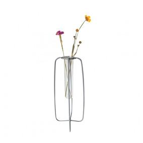 Vaso De Vidro Com Aramado Em Metal Cinza 23,5cm