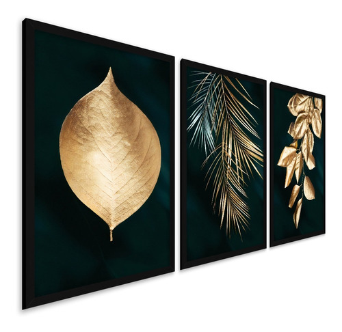 Quadros Decorativos Moldura Folhas Folhagem Gold Ouro Luxo