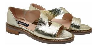 Sandalia Cuero Zapato Taco 2 Cm Suela De Goma Primavera 2020