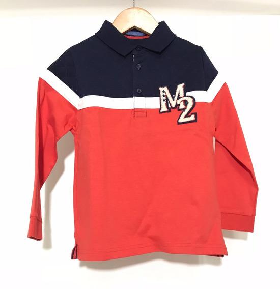 Playera Tipo Polo Sport Azul Y Rojo Moda Española Mayoral