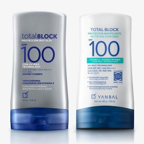 2x1  Protector Solar 100spf, Total Block Yanbal. Rostro Y C