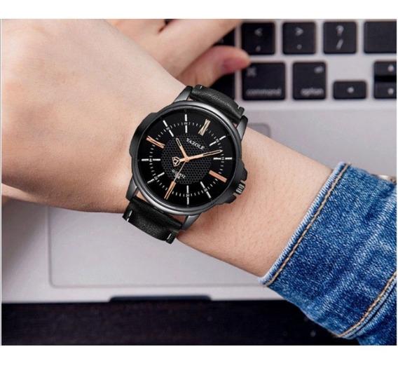 Relógio Preto Couro Masculino Social Ponteiros Yazole Quartz