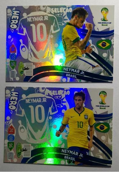2 Cards Neymar Hero Raros Copa 2014 Adrenalyn Panini