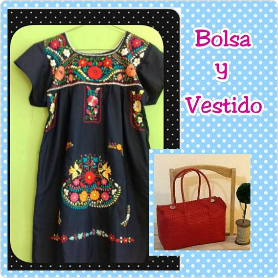 Bolsa Artesanal Y Vestido Bordado