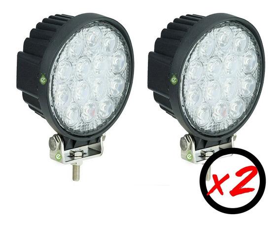 Caja X 2 Faros Reflector Led 42w Negro 12v/24v Para Tractor