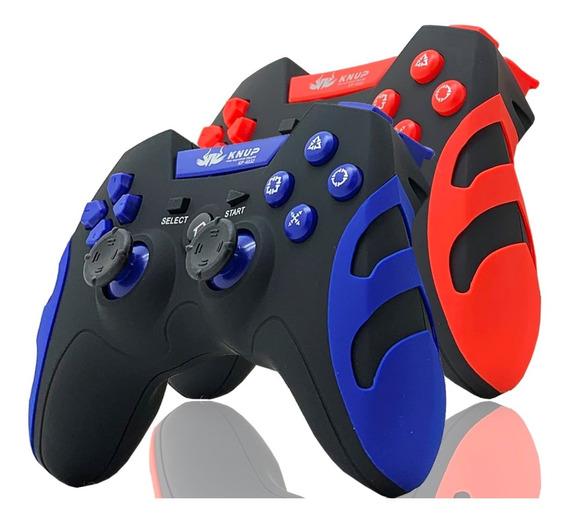 2 Controle Joystick Pc Gamer Wireless Sem Fio Ps3 Ps2 Recarr