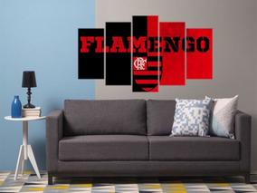 Quadro Mosaico 5 Peças Mdf 6mm Flamengo