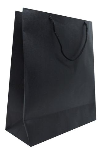 20 Sacolas De Papel Para Presente - Preta  27x22 Cm