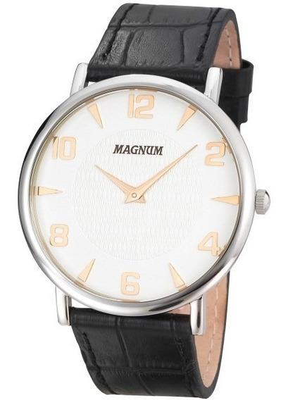 Relógio Magnum Ma21893n Pulseira Couro Preto Super Fino