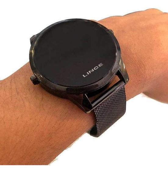 Relógio Preto Redondo Pulseira Aço Lince Masculino Digital