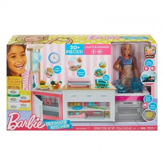 Barbie Cozinha De Luxo - Com 20 Peças E Boneca - Mattel