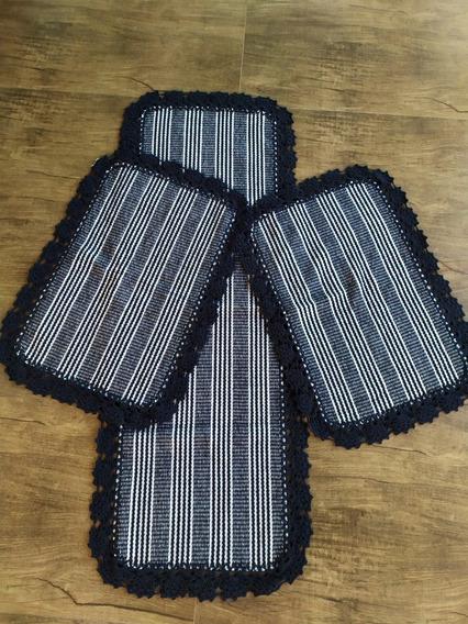Kit 3 Jogos De Tapetes Cozinha Tear Bico De Crochê Promoção