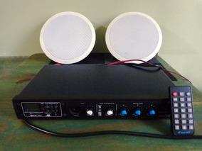 Amplificador De Ambiente 60w Até 12 Caixas C/ Usb / Bluetoot