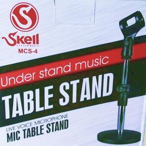 Mini Pedestal Microfone Mesa Reto Telescópico + Cachimbo