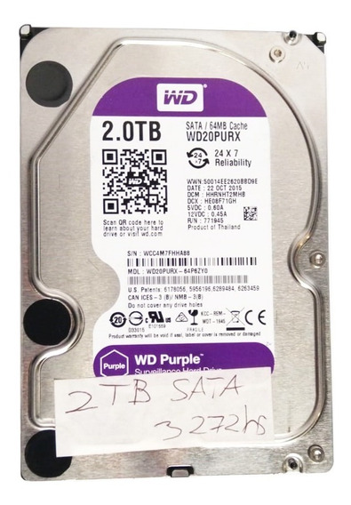 Disco 2tb Wester Digital Pc Purple Sata 2 Teras