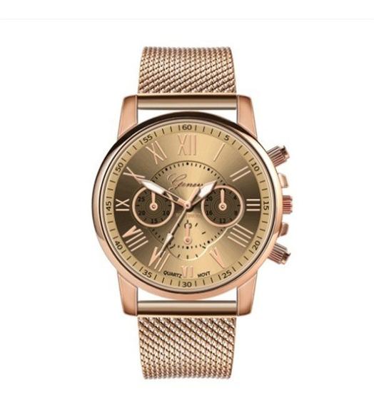 Relógio Feminino Geneva, Dourado, Pulseira Silicone-metal