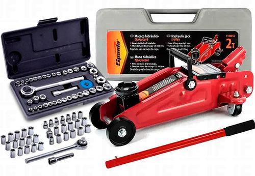 Macaco Hidraulico 2 Ton Jacare Sparta + Kit 40 Soquetes