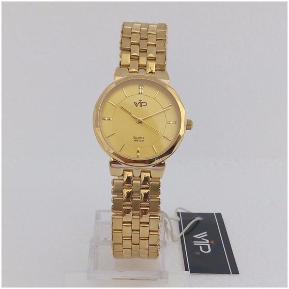 Relógio Vip Quartz Mm280 Feminino Dourado Ouro 18k Original Luxo 12x Sem Juros Envio Imediato
