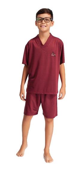 2 Pijamas Camisa Meia Manga Short Estampado E Liso Masculino Infantil