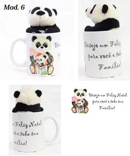 Urso Panda 15cm + Caneca Desejo Feliz Natal Presente Ideal