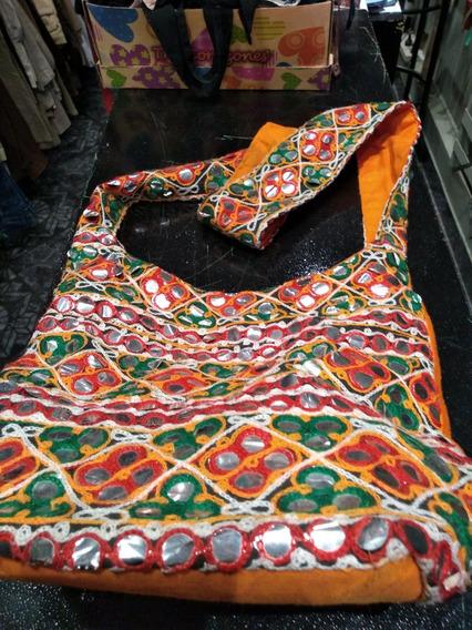 Bolso Hindu Bordado Con Aplicaciones Orange