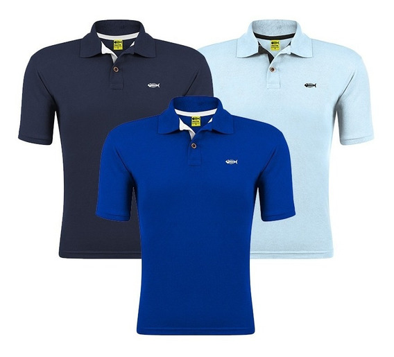 Kit 3 Camisa Gola Polo Fish Piquet Camiseta Atacado Revenda
