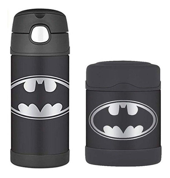 Kit Garrafa Thermos Termica 355ml + Pote Alimento - Batman