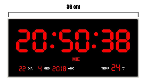 Reloj Digital De Pared Led Numeros Rojos Termómetro 36 Cm