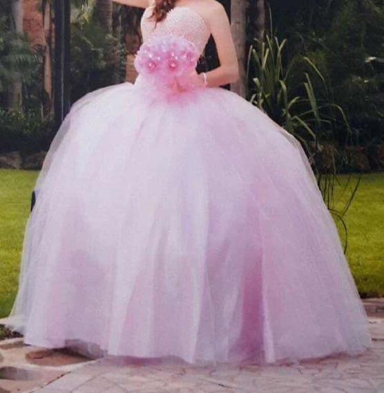 Vestido De Xv Años Rosa De Perlas. Envió Gratis