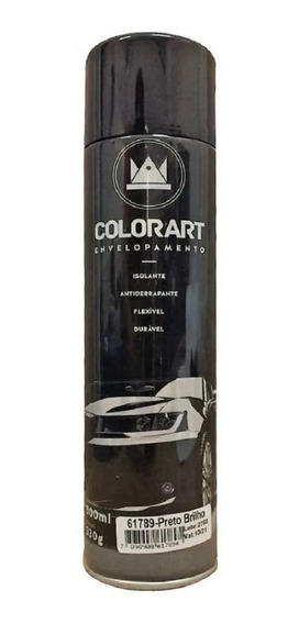 01 Spray Preto Brilhante Envelopamento Colorart 500 Ml