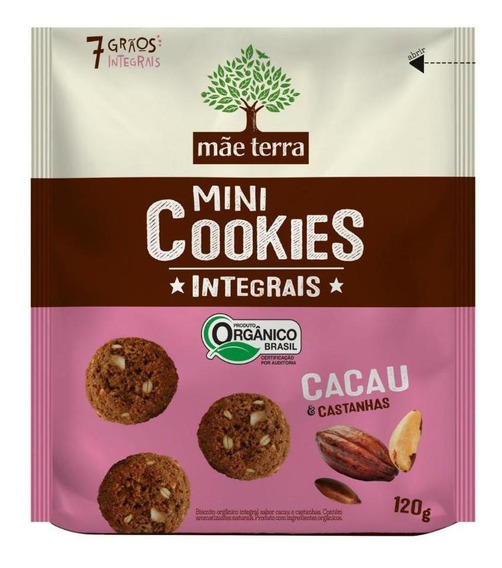 Mini Cookies Mãe Terra Cacau E Castanhas Orgânico 120 Gr