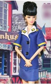 Roupa De Aeromoça+sapatos Para Boneca Barbie