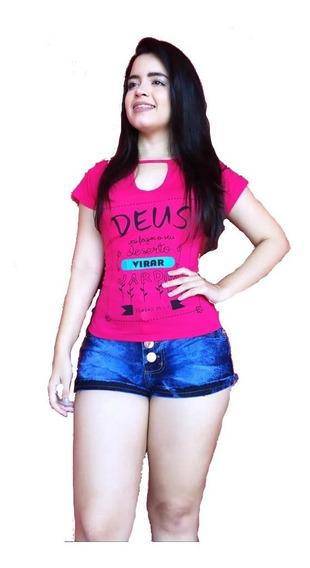 Kit 3 Blusas Feminina T-shirts Estampadas Tecido Radiosa