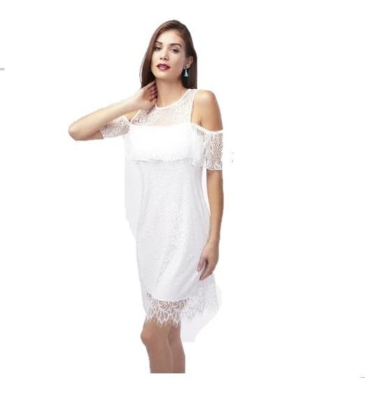 Vestido Casual Blanco Con Detalle De Encaje 017360