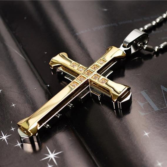 Colar Pingente Cruz Crucifixo Amarelo Aço Inox Cordão Com Brilhantes Frete Grátis