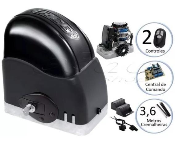 Kit Motor Para Portão Eletrônico Deslizante 3,6m Cremalheira