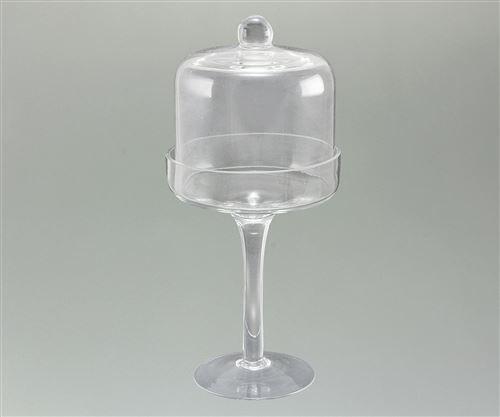 Campana Potiche De Vidrio Con Pie 26x12.5cm