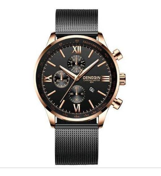 Relógio Masculino Thanos Preto Malha Aço Design Quartz