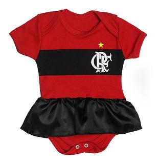 Body Bebê Time Futebol Flamengo Roupa Infantil Com Saia