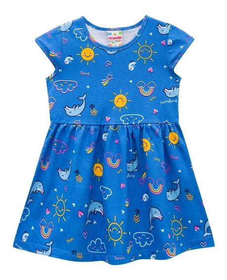 Vestido Infantil De Malha Golfinhos - Brandili