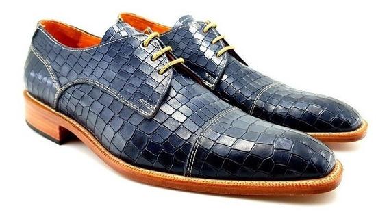 Zapato De Cuero Azul Lagarto Leonetti Suela Madera