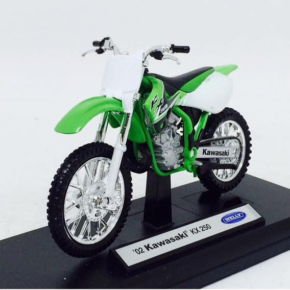 Miniatura Moto Kawasaki Kx 250 (2002) - Verde - 1:18 - Welly