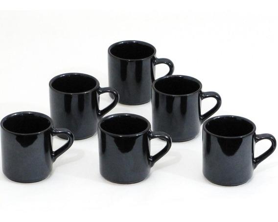 Jogo 6 Canequinha Café Black Xícara Porcelana 70 Ml Preto